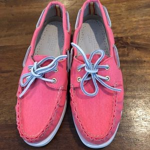 Sperry for JCrew. Brand new. Bright coral size 8